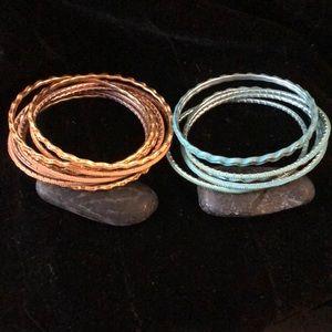 Gold and Blue Bangle bracelets- light metal H&M